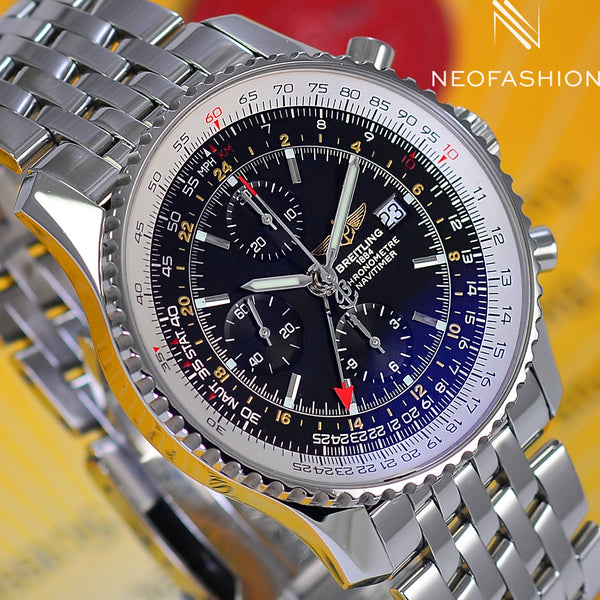 Breitling Navitimer World GMT 2nd Time Zone A23322 Mens Luxury Watch