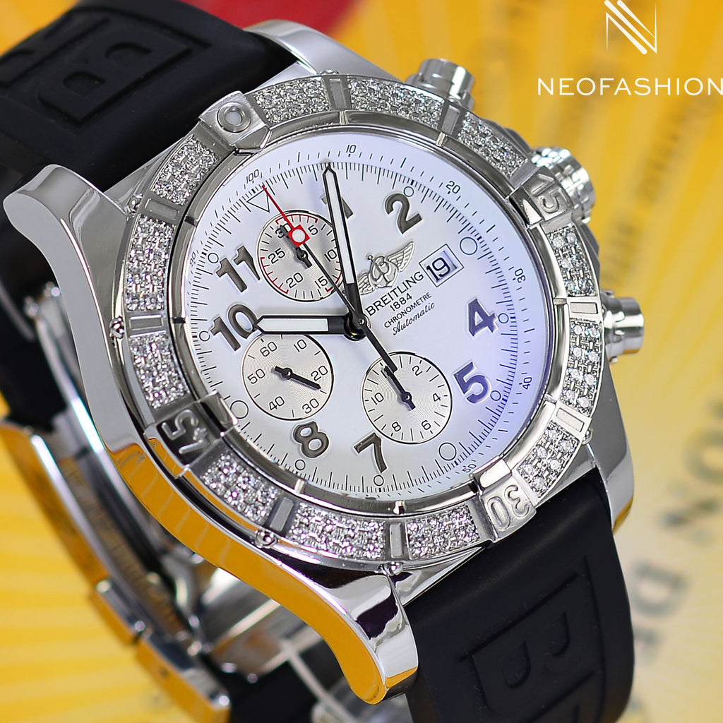Breitling Super Avenger With Diamond Bezel White Dial A13370 - NeoFashionStore