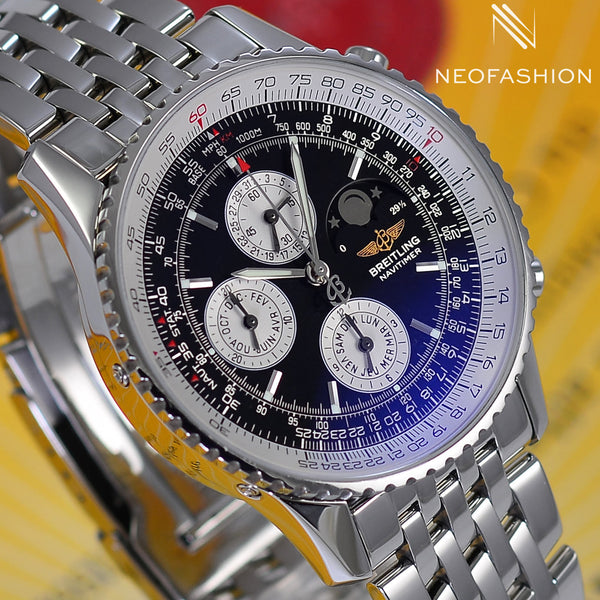 Breitling Navitimer Olympus Moon Phase Annual Calendar A19340 Black Dial - NeoFashionStore