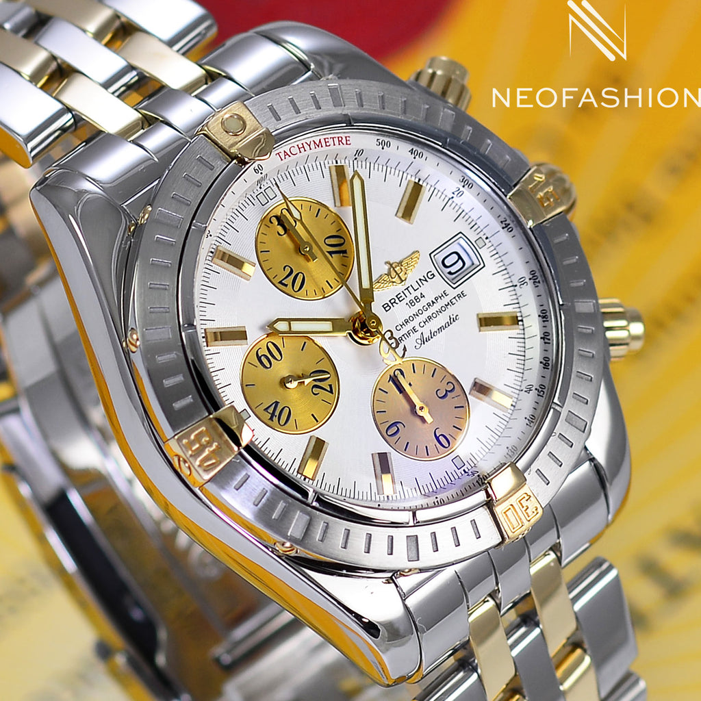 Breitling Chronomat Evolution 18K Gold/Steel White Dial B13356 - NeoFashionStore