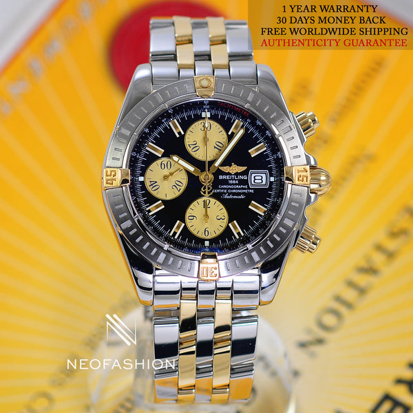 Breitling Chronomat Evolution 18K Gold/Steel Black Dial B13356 - NeoFashionStore