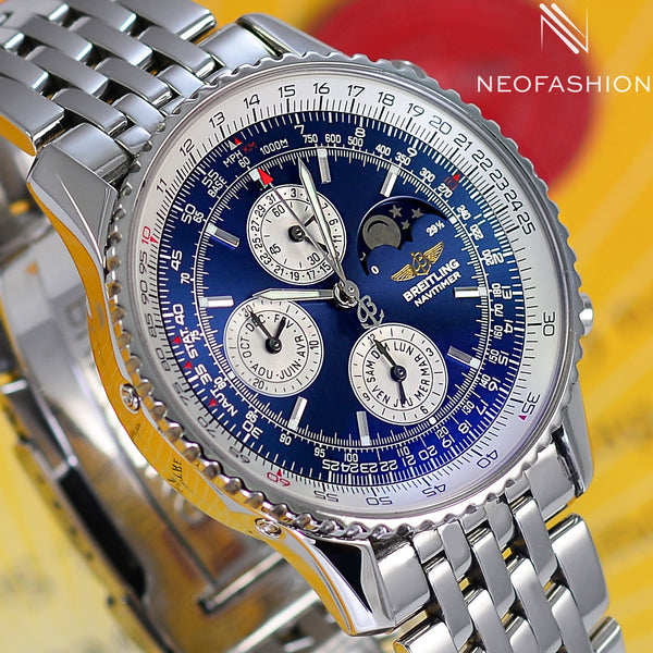 Breitling Navitimer Olympus Moon Phase Annual Calendar A19340 Blue Dial - NeoFashionStore