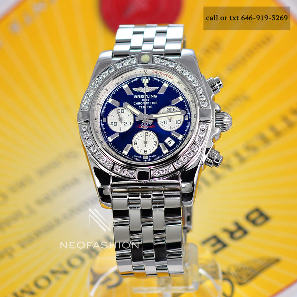 Breitling Chronomat B01 44mm Diamond Bezel Blue Dial Stainless Steel AB0110 - NeoFashionStore
