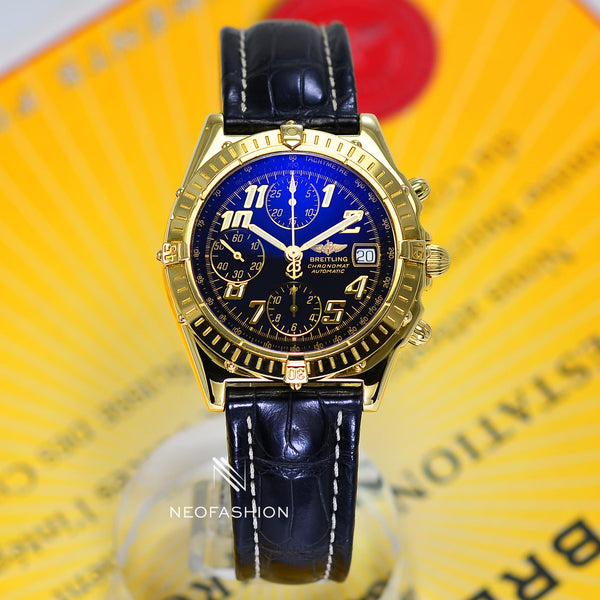 Breitling Chronomat 18K Solid Yellow Gold Black Dial K13050 - NeoFashionStore