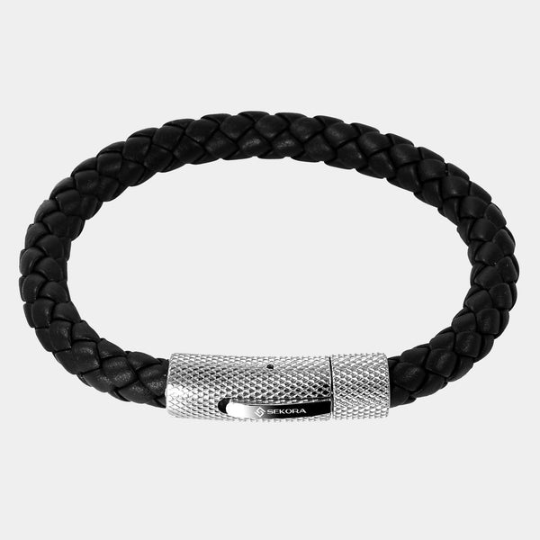 Sekora Black Braided Nappa Leather Bracelet