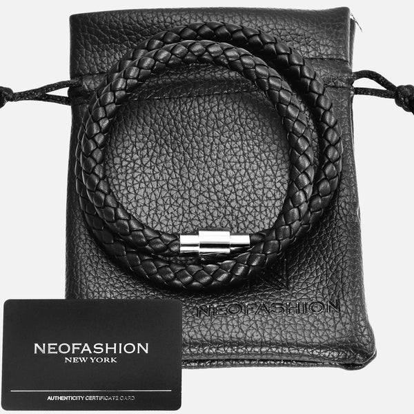 Black Braided Nappa Leather Twin Loop Magnetic Bracelet