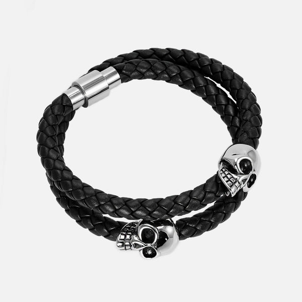Neofashion Black Braided Nappa Leather Twin Skull Bracelet