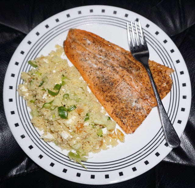 Couscous Salad with Yummies in a Jar Vinaigrette and fresh Trout with our Maple Glaze
