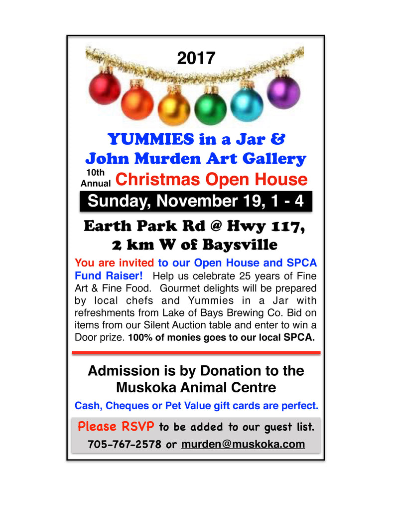 Yummies in a Jar Open House/SPCA Fundraiser on November 19th