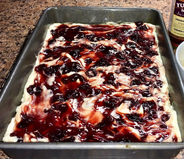 Cherry & Almond Cheesecake Square