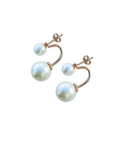 Double Pearl Drop Earrings