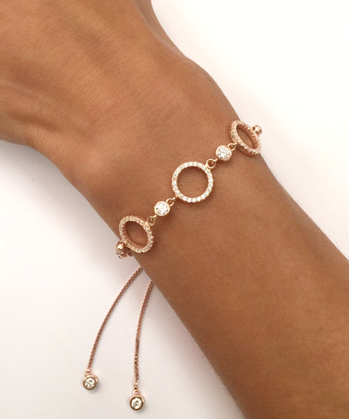 Gold & CZ Adjustable Bracelet