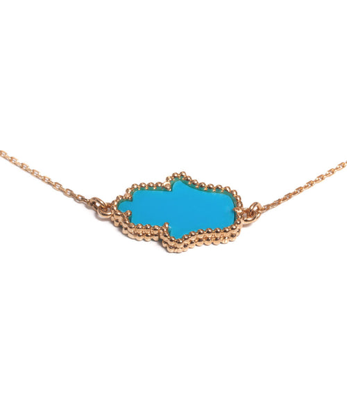 Gold & Turquoise Hamsa Necklace
