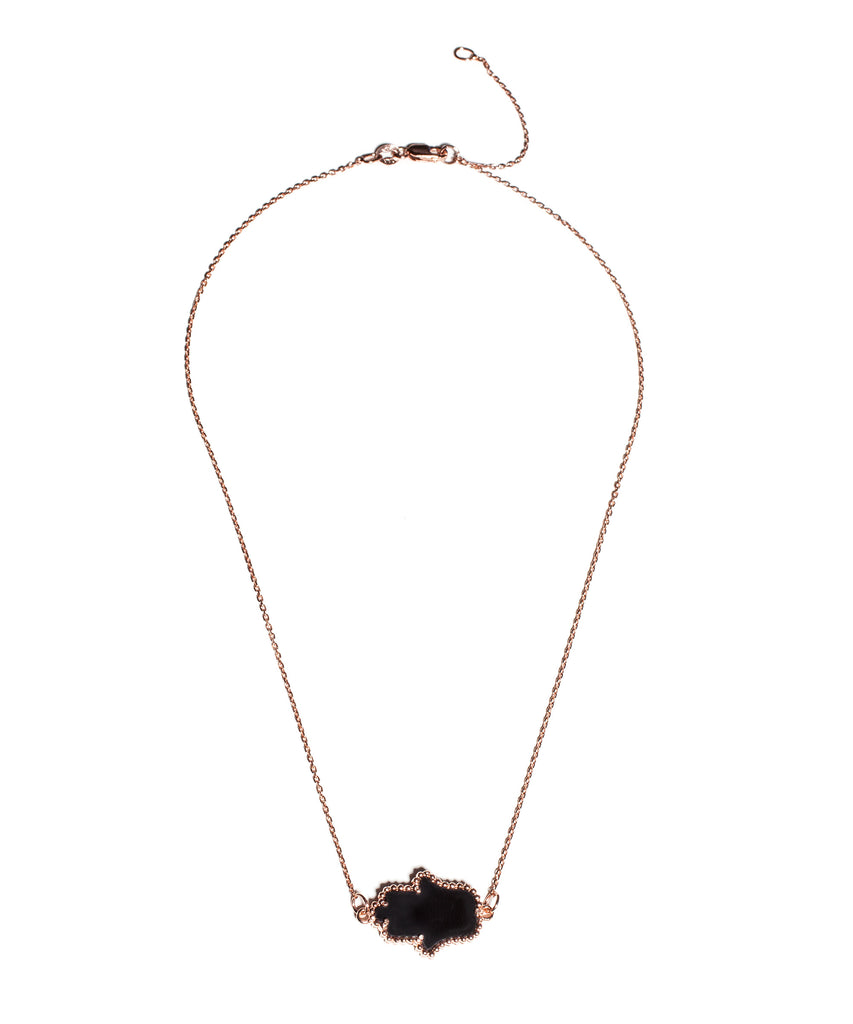 Rose Gold & Black Hamsa Necklace