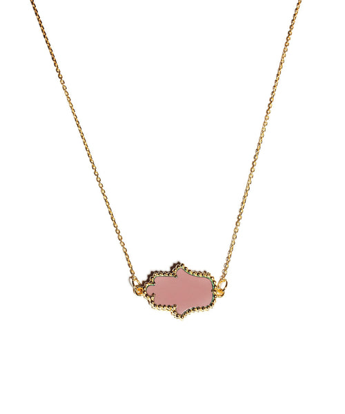 Gold & Pink Hamsa Necklace