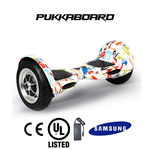 "10"" Urban PukkaBoard - Graffiti White - PukkaMate,  Safe Bluetooth Hoverboard, UL, CE Certified UK, Best Swegway Smart Balance"
