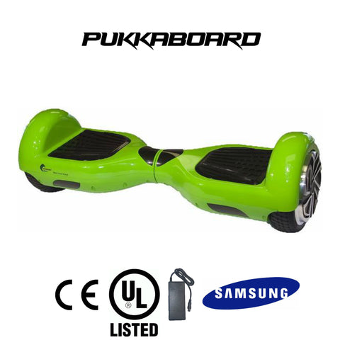 "6.5"" Classic PukkaBoard - Green - PukkaMate,  Safe Bluetooth Hoverboard, UL, CE Certified UK, Best Swegway Smart Balance"