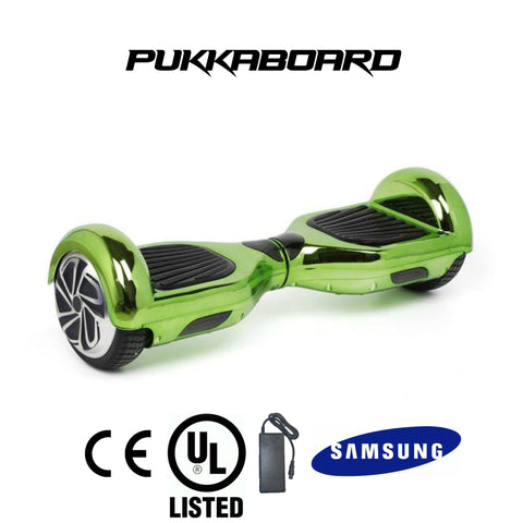 "6.5"" Classic PukkaBoard - CHROME Green - PukkaMate,  Safe Bluetooth Hoverboard, UL, CE Certified UK, Best Swegway Smart Balance"