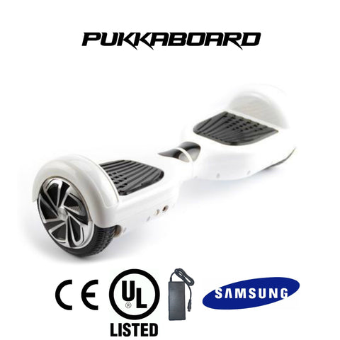 "6.5"" Classic PukkaBoard - White - PukkaMate,  Safe Bluetooth Hoverboard, UL, CE Certified UK, Best Swegway Smart Balance"