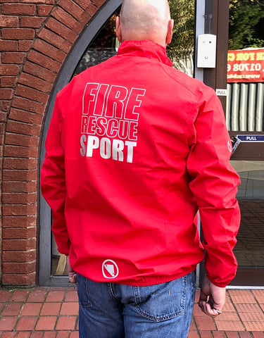 Endura 'Fire Rescue' waterproof sports jacket SPORT on the back