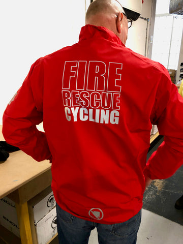 Endura Fire Rescue breathable sports waterproof with CYCLING on the back
