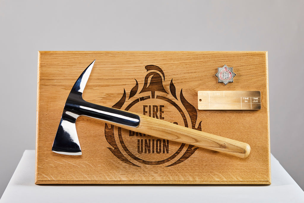 Firefighters Axe presented on oak board