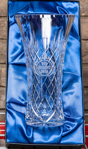 Engraved FBU Vase in Lead Crystal