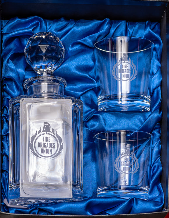 Engraved FBU Whisky Decanter and Two Glasses Set