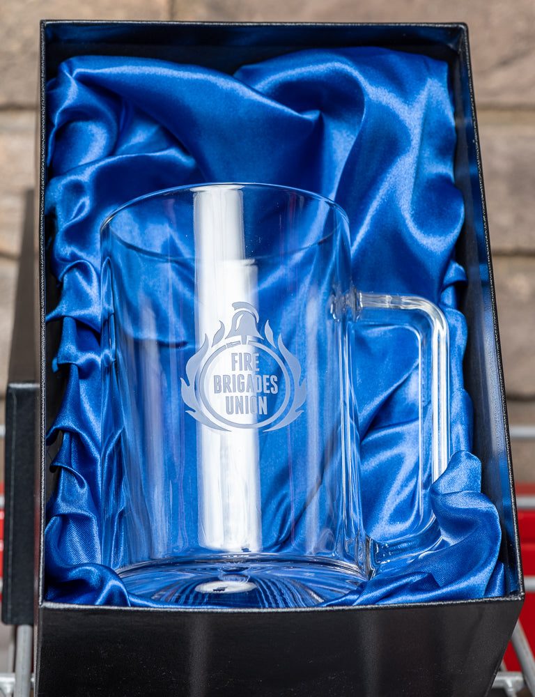 Engraved FBU Glass Tankard
