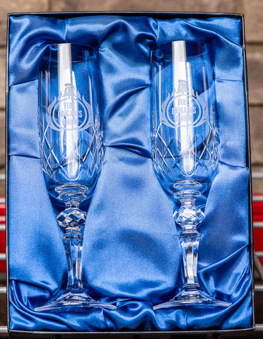 Engraved Pair of FBU Champagne Flutes