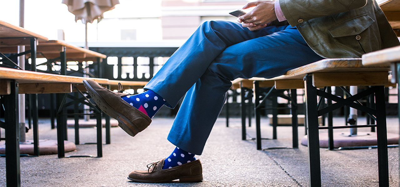 Polka Loca bamboo cotton socks men Gorilla colorful sustainable clothing donate charity startup