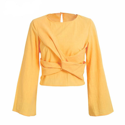 Penelope Long-Sleeve Knotted Blouse