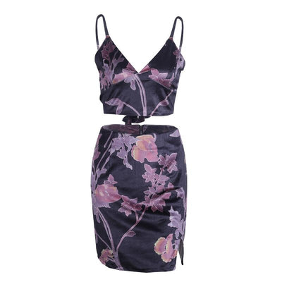 Midnight Orchid Satin Two-Piece Set