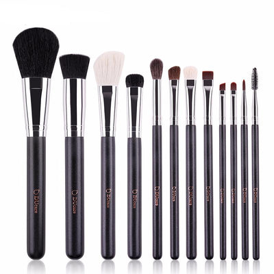 12-Piece Black & Silver Brush + Bag Set