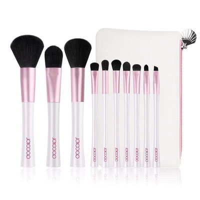 10-Piece Pink & White Travel Brush Set