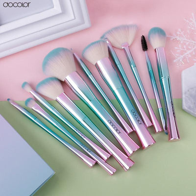 11-Piece Baby Blue & Purple Brush Set