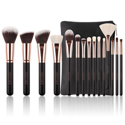 15-Piece Black & Rose Gold Brush Set