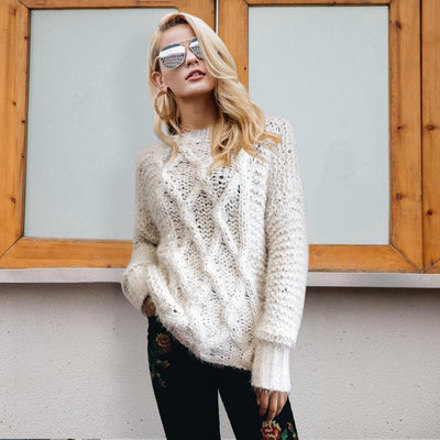 Cookies and Cream Cable Knit Sweater