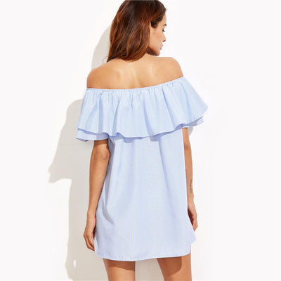 Conch Ruffled Off-the-Shoulder Dress