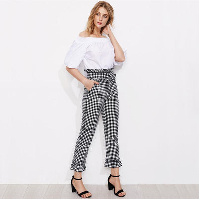 Peach Cobbler Checkered Pants