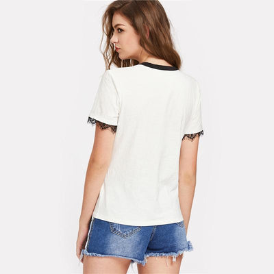 Exposed Lace Trim Graphic Tee