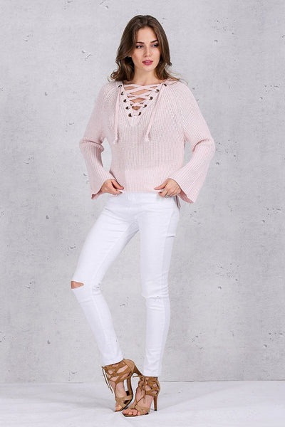 Carousel Lace-Up Flared Sleeve Sweater