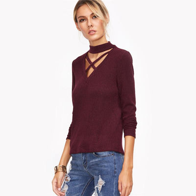 Empress Mock Neck Criss-Cross Sweater