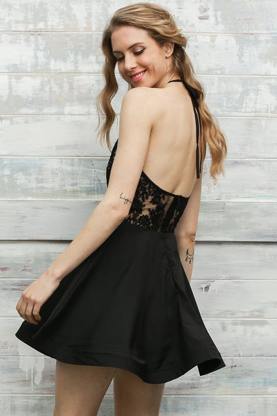 Covet Sheer Halter Party Dress
