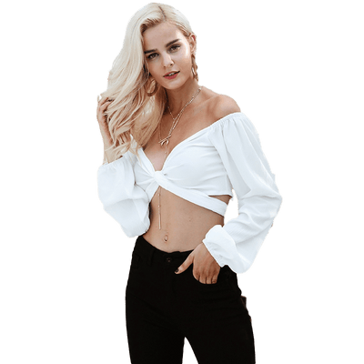 Bardot Long-Sleeve Bow Cropped Top