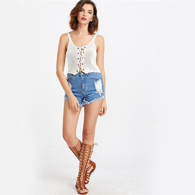 Flaunt Distressed Denim Shorts