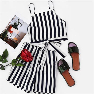 Papaya Striped Two-Piece Set