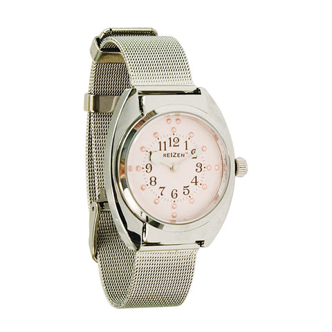 Watch Braille Ladies - Chrome-Steel Mesh Band with Pink Dial