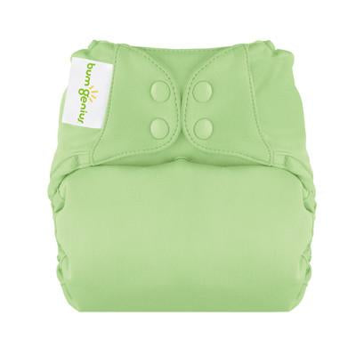 grasshopper pale green elemental organic cotton all in one nappy by bum genius