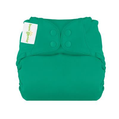 hummingbird jade green elemental organic cotton all in one nappy by bum genius